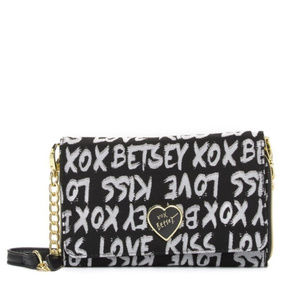 NEW Betsey Johnson Black Graphic Crossbody Handbag